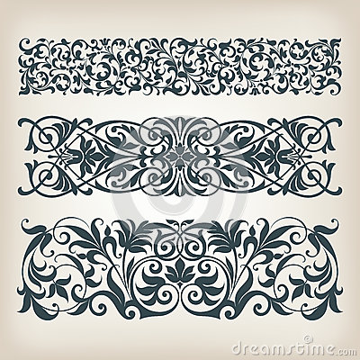 Vintage set border frame ornate scroll calligraphy vector Vector Illustration