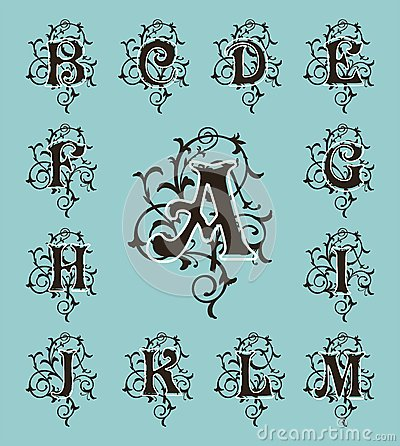 Vintage Set Capital Letters Floral Monograms And Filigree