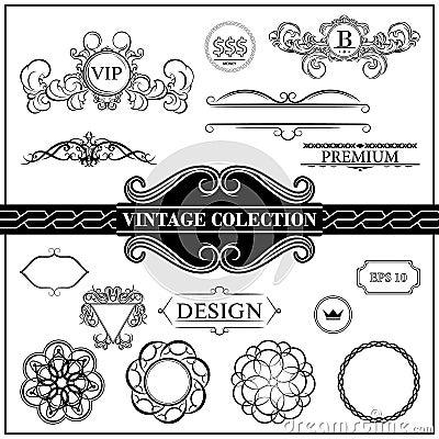 Vintage set decor elements for menu. Elegance old hand drawing s Vector Illustration