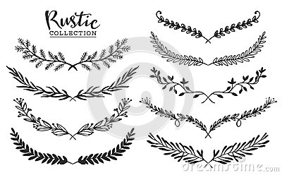 Vintage set of hand drawn rustic laurels. Floral vector graphic. Vector Illustration
