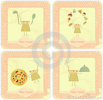 Vintage Set of Menu Card Designs with chefs