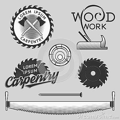Free Vintage Set Of Carpentry Logos, Labels And Design Elements. Stock . Royalty Free Stock Image - 57270186