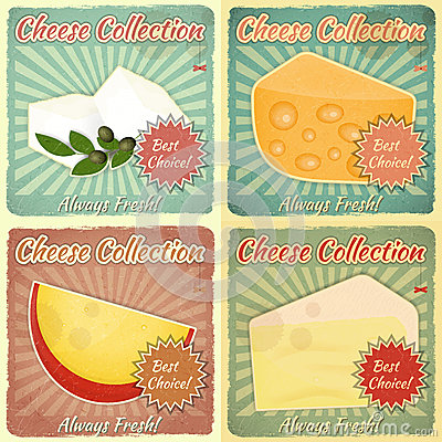 Free Vintage Set Of Cheese Labels Stock Photo - 30843880