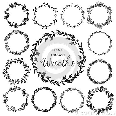 Free Vintage Set Of Hand Drawn Rustic Wreaths. Floral Vector Graphic. Stock Images - 54205334