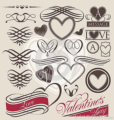 Free Vintage Set Of Heart Design Elements Stock Image - 30927961