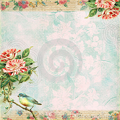 Vintage Shabby Bird and Rose Background