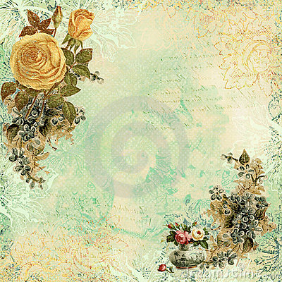 Free Vintage Shabby Chic Background With Flowers Stock Photography - 23162792