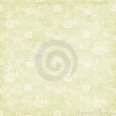 Vintage shabby chic green rose background texture