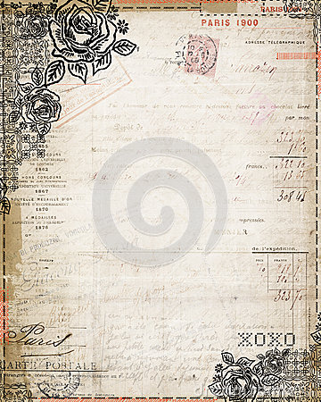 Vintage Shabby Chic rose french invoice stationary
