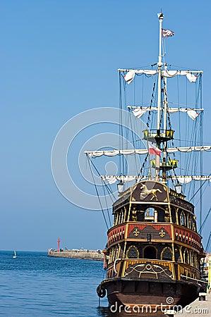 Vintage ship in port