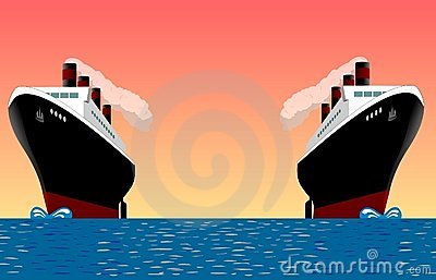 Vintage ships at sea