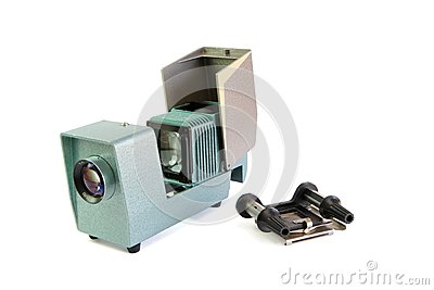 Vintage side projector with film holder isolated