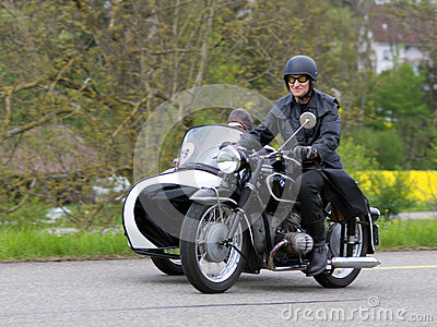 Vintage sidecar motorbike BMW R 51 3 from 1954 Editorial Stock Photo