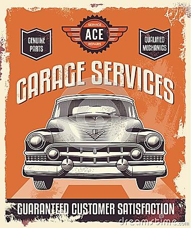 Vintage Sign Advertising Poster Classic Car Garage