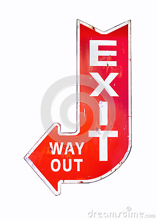 Free Vintage Sign Exit Way Out Retro Style Isolated Stock Photos - 63862233