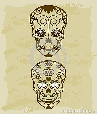 Vintage sketch of sugar skull