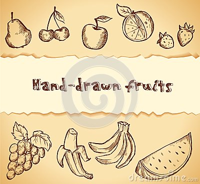 Vintage sketched fruits icon set