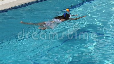 Vintage Slow Motion Short Swimming Girl stock video footage