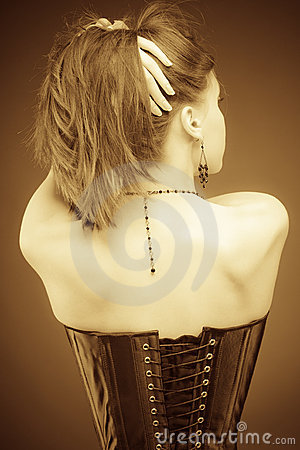 Vintage slyle lady in corset
