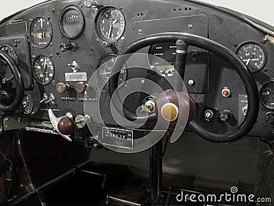Vintage small airplane cockpit