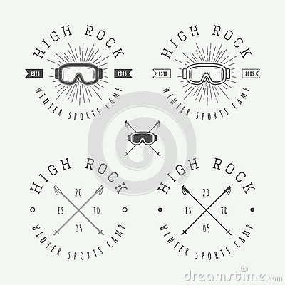 Free Vintage Snowboarding Or Winter Sports Logos, Badges, Emblems Royalty Free Stock Photo - 68146155