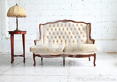 Vintage sofa in the room