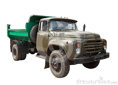 Vintage Soviet military truck. Isolated over white