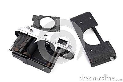 Vintage soviet rangefinder camera taken apart