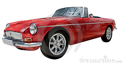 Vintage sport convertible classic car isolated