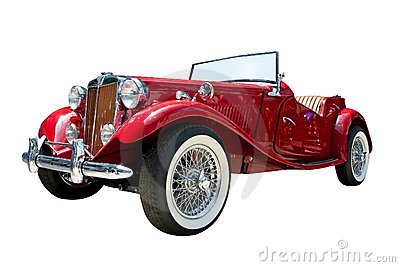 Vintage sport retro convertible car isolated