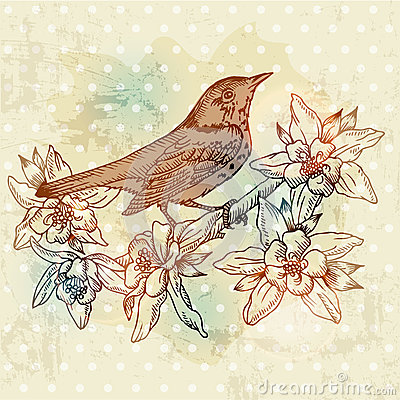 Vintage Spring Card with Bird