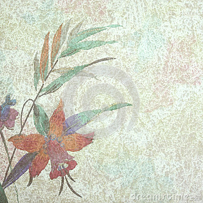 Vintage spring flower and leaves textured backgr