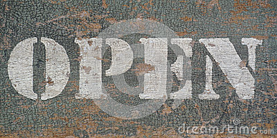 Vintage stencil open sign