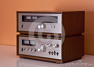 Vintage Stereo Amplifier and tuner wooden cabinets