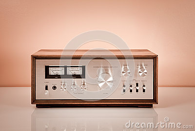 Vintage Stereo Power Amplifier in Wooden Cabinet