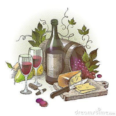 Vintage still life with wine