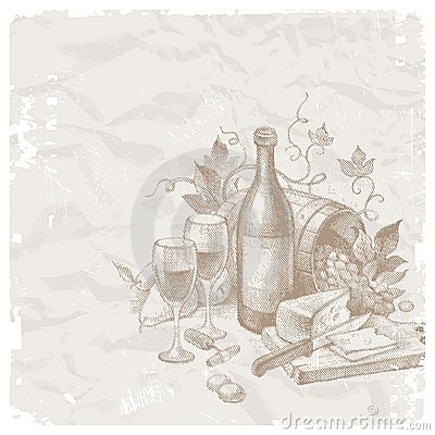 Free Vintage Still Life With Wine And Foods Stock Images - 15377554