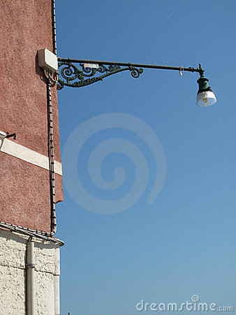 Vintage street lamp on wall