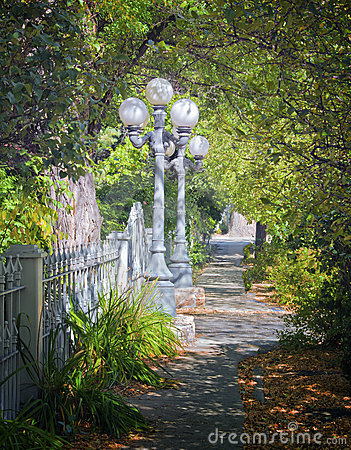 Vintage Street Lamps, Tree-lined Path