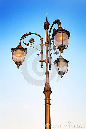 Vintage street light in Moscow.