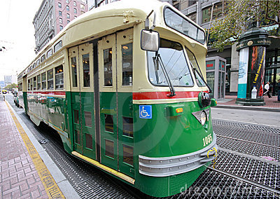 Vintage streetcar in service on the F Market line Editorial Photography