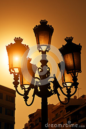 Vintage Streetlamp at Sunset