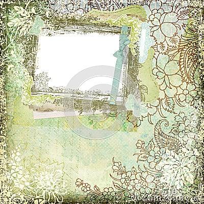 Vintage Style Botanical Floral Background Frame 1