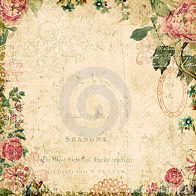 Free Vintage Style Botanical Floral Framed Background Royalty Free Stock Photography - 22953467