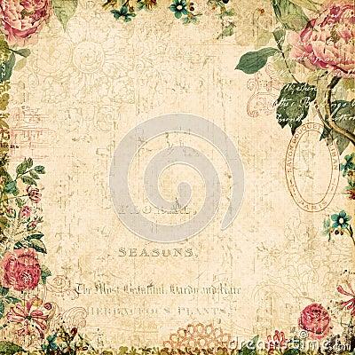 Vintage style botanical floral framed background