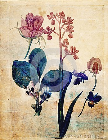 Free Vintage Style Botanical Flower Wall Art In Rich Colors Stock Images - 103594644