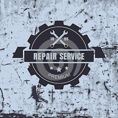 Free Vintage Style Car Repair Service Label On Rusty Background. Vect Royalty Free Stock Photo - 46764055