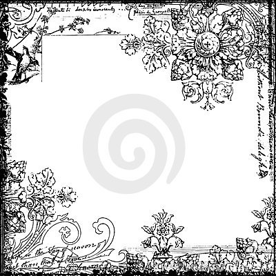 Vintage style decorative floral and bird frame