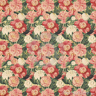 Vintage style floral background with pink blooms