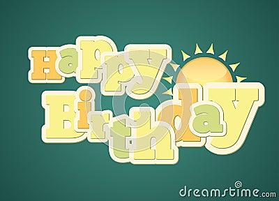 Vintage style happy birthday typography